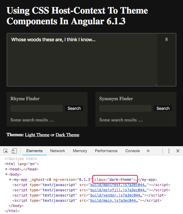 Theming Angular components with :host-context() CSS bindings -- dark theme.