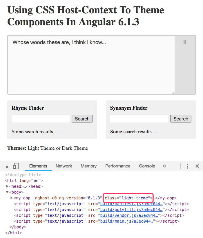 Using CSS Host-Context To Theme Components In Angular 6.1.3