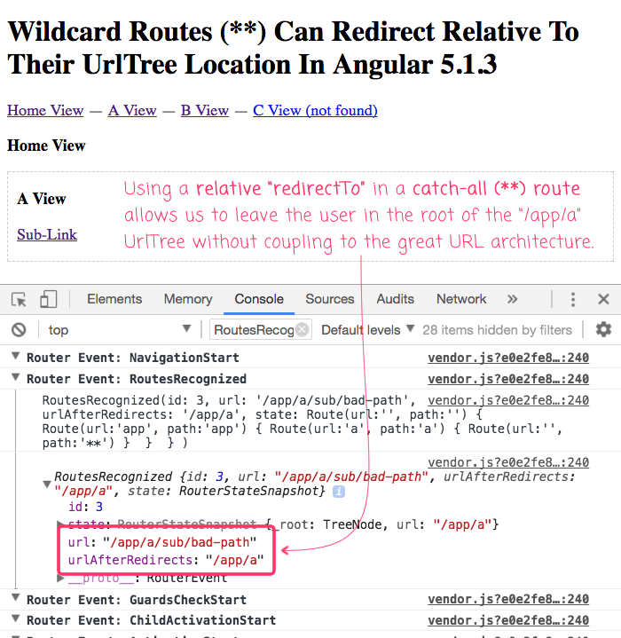 The wildcard route (**) can redirect to a relative location in the UrlTree.