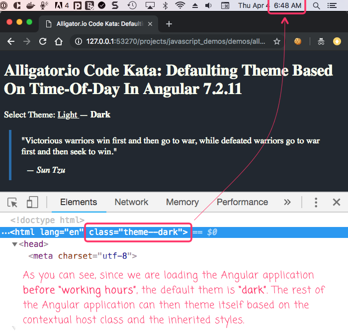 Alligator.io inspired code kata: defaulting to a dark theme at early morning hours.