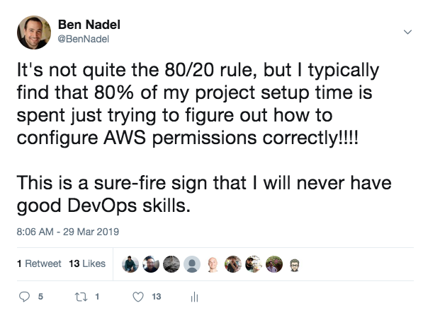 AWS Permissions 80/20 rule -- I spend 80% of my configuration time trying to setup AWS permissions.