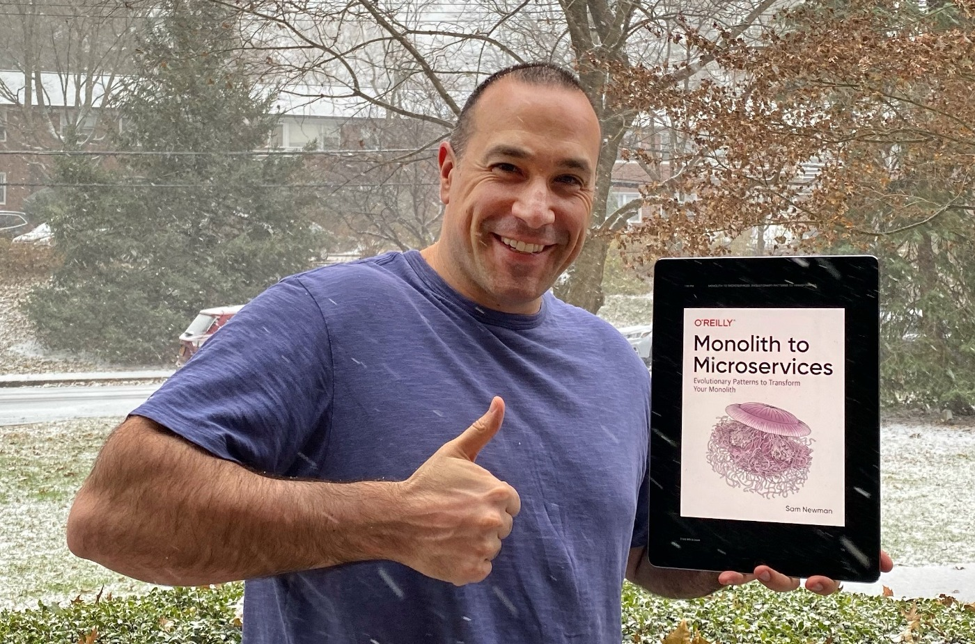 Ben Nadel giving the thumbs-up for Sam Newman's book, Monolith to Microservices.