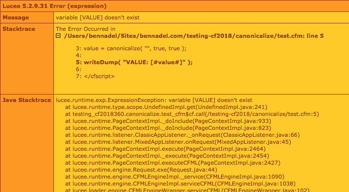 Lucee 5 error referencing NULL value returned from canonicalize() function.
