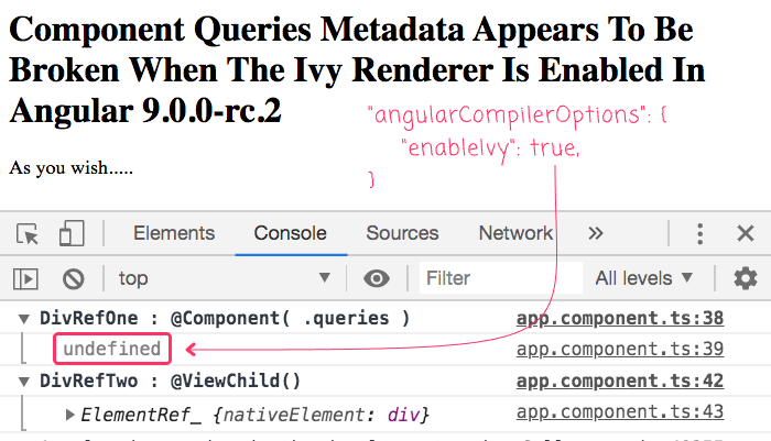 Component queries metadata fails to inject element reference if Ivy is enabled in Angular 9.0.0-rc.2.
