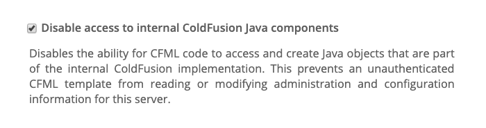 ColdFusion 2018 administrator settings for internal ColdFusion Java objects.