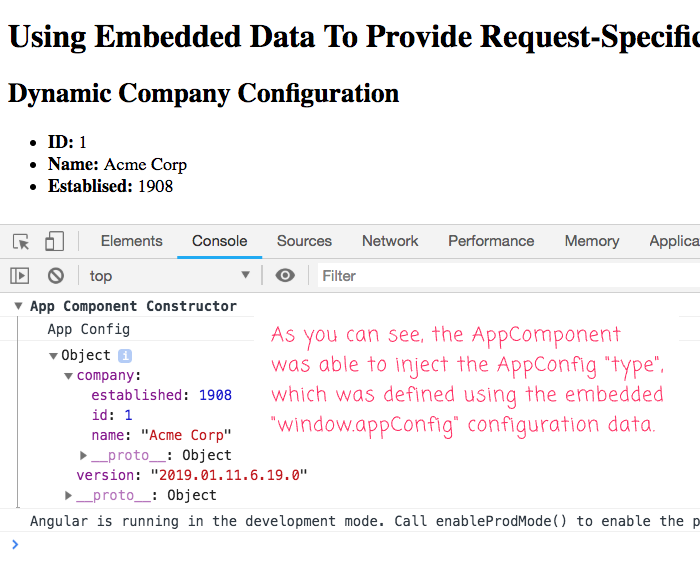 Consuming embedded JSON payloads in your Angular application using dependency-injection.