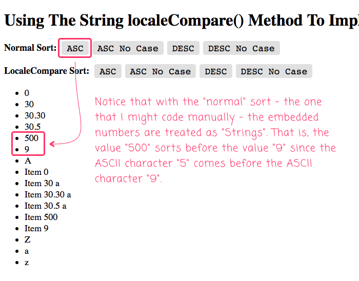 Embedded number are treated as strings when using native comparisons in Angular 8.