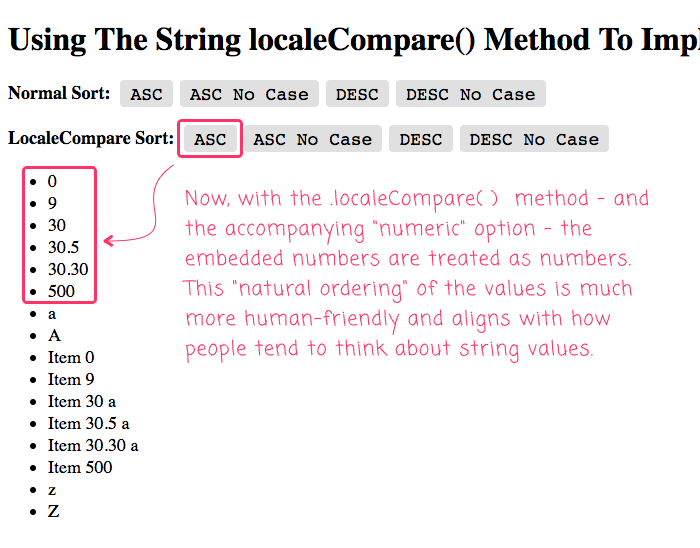 Embedded number are treated as numbers when using the .localeCompare() in Angular 8.