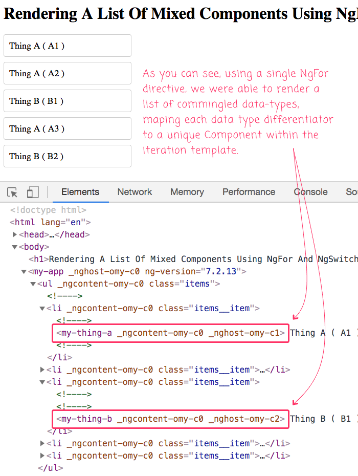 Using a single NgFor directive to render mixed data lists in Angular 7.2.13.