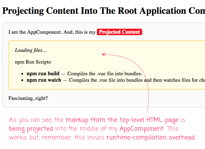 Projecting root HTML content into the App component using slots in Vue.js 2.6.6.