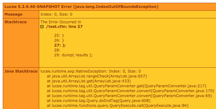queryExecute() with empty list throws an error in Lucee CFML 5.2.9.40.