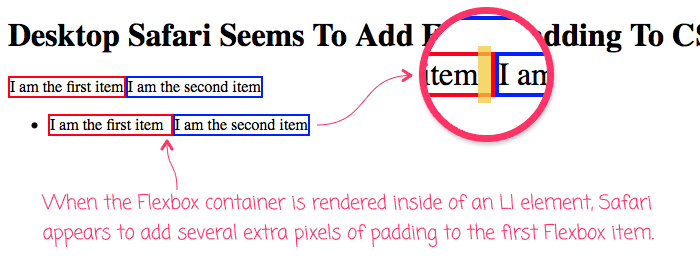 The first Flexbox container item has extra padding when rendering in an LI in Safari for Desktop.