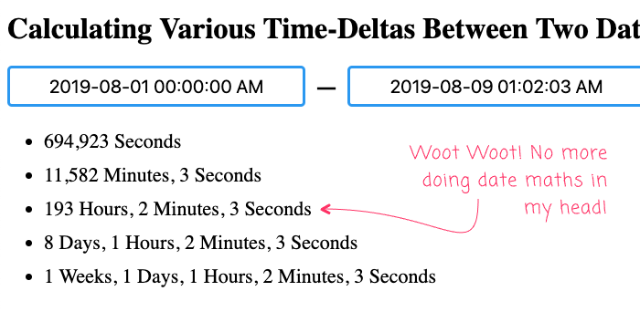 Various time-detals calculated from two date/time-stamps in Angular 9.0.0-next.4.