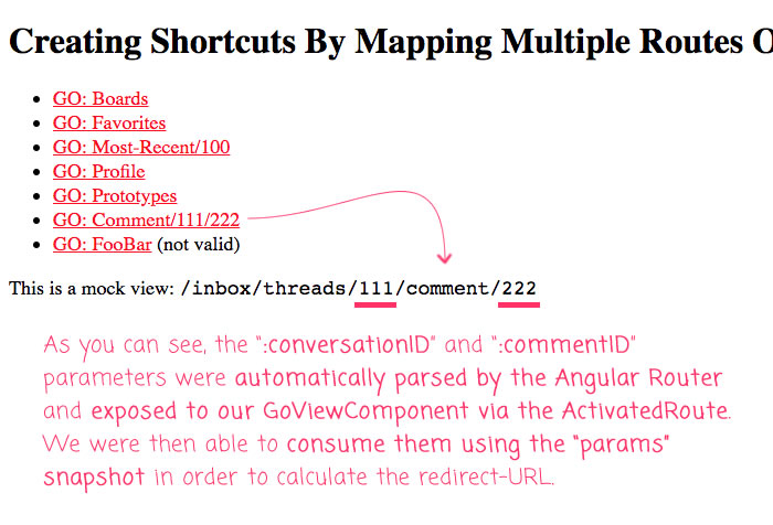 Mapping multiple routes onto the same view-component in an Angular route.