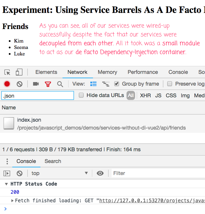 Creating a simple dependency-injection layer in Vue.js using a service barrel.