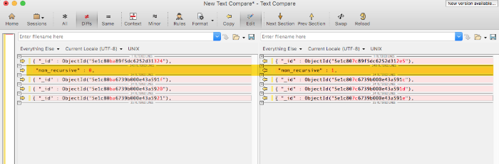 Diffing database results using Beyond Compare text comparison.