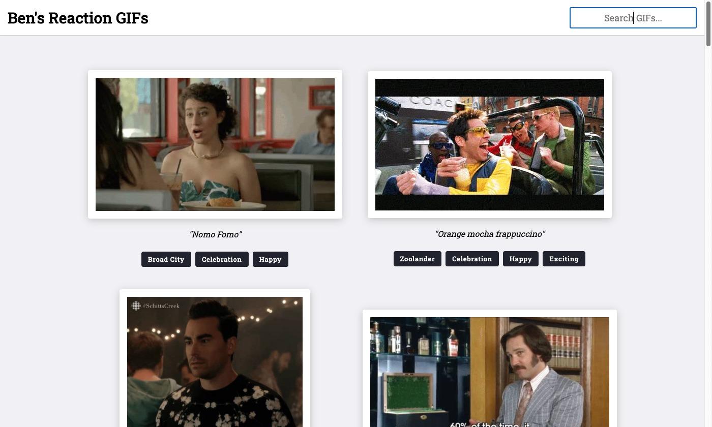 Ben's Reaction GIFs Angular 11 site on Netlify