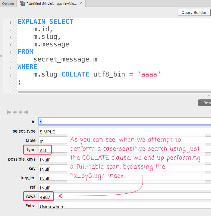 MySQL EXPLAIN showing a full-table scan when using COLLATE.