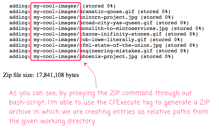 Zip output showing relative paths generated from the working directory in Lucee CFML.