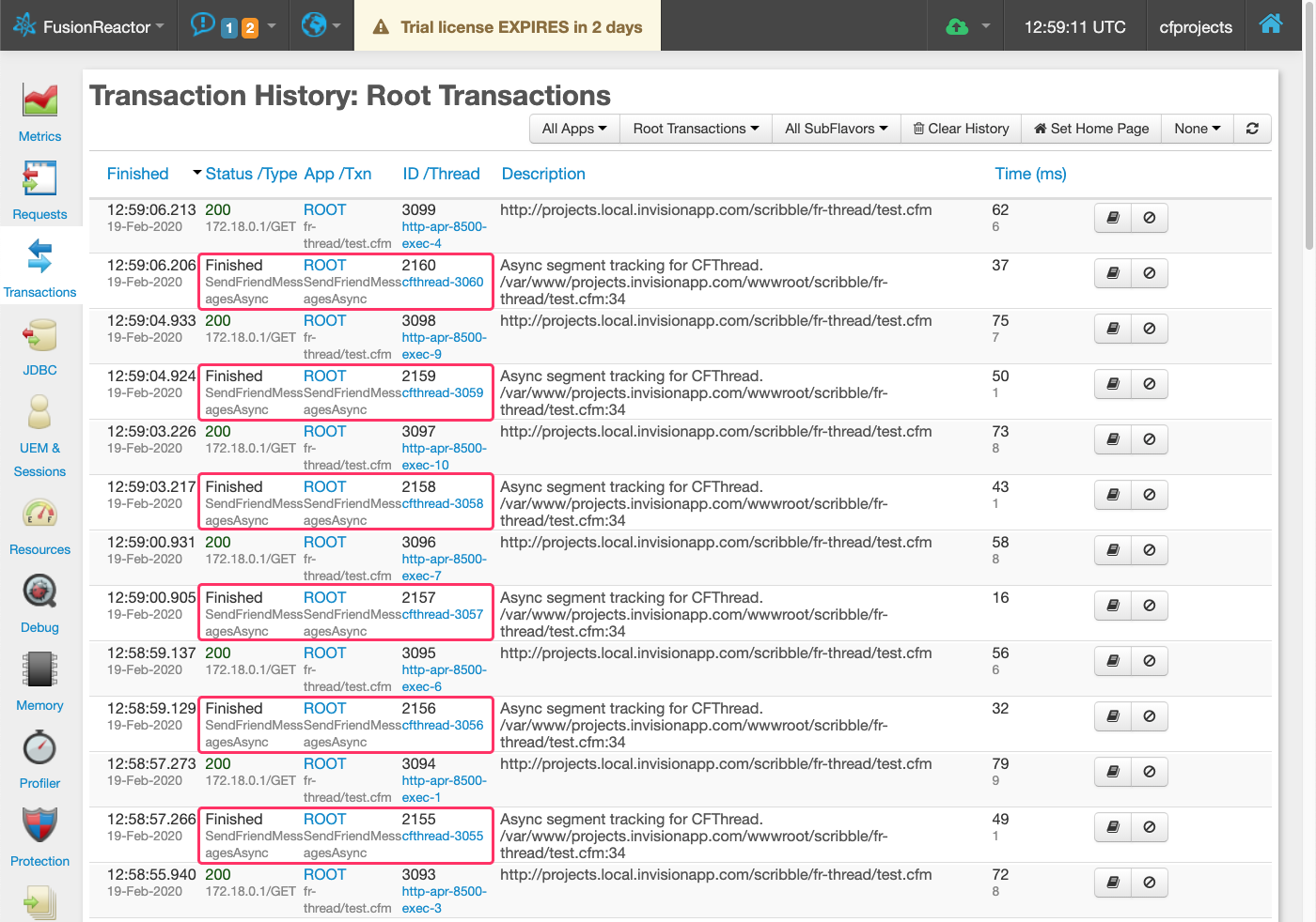 Instrumented CFThread's showing up in the Transactions list in FusionReactor Standalone dashboard.