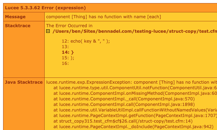 Passing a ColdFusion component to structCopy() does not produce a native Struct in Lucee CFML 5.3.3.62.