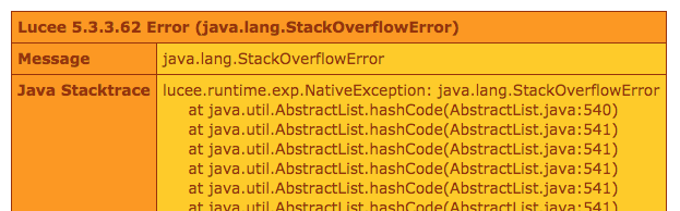 Dumping a ciruclar reference yields a stack-overflow error around .hashCode() in Lucee CFML 5.3.3.62.