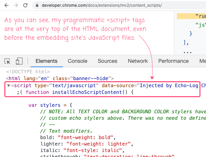 Echo-log Chrome extension content script is injected as the first script in the HTML page.