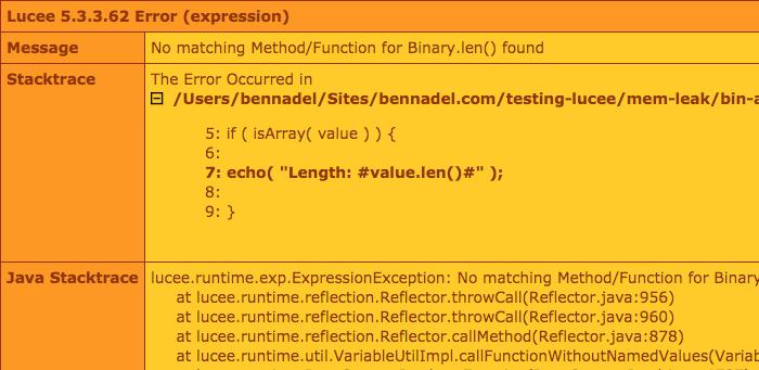 Array member method error in Lucee CFML 5.3.3.62.