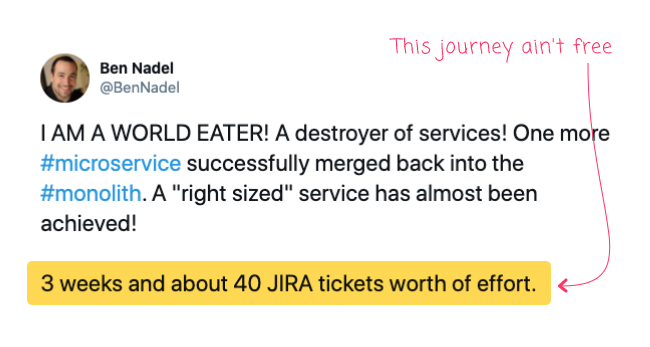 Tweet highlight: 3 weeks and about 40 JIRA tickets worth of effort.
