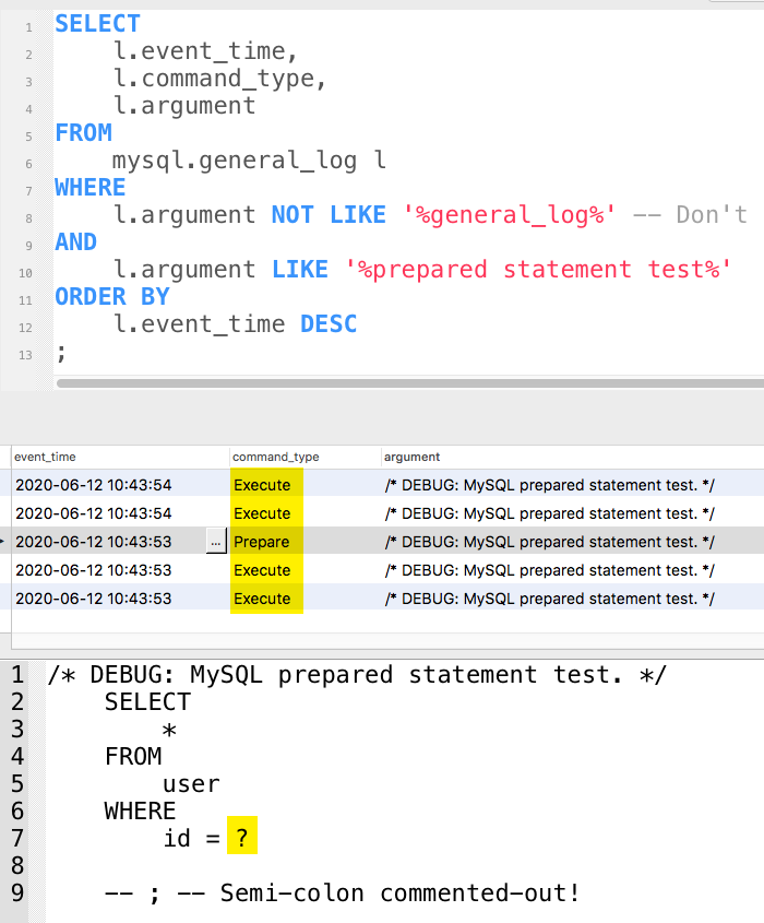 MySQL general log now shows 'prepare' and 'execute' command types.
