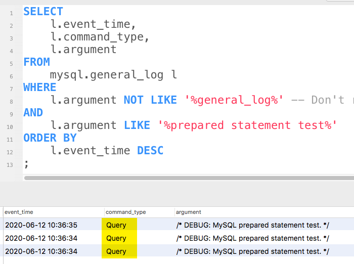 MySQL general log still shows 'query' command types.