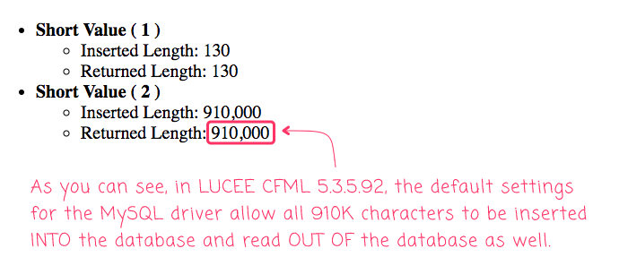 The default MySQL driver does NOT truncate long-varchar fields at 64,000 characters in Lucee CFML 5.3.5.92.