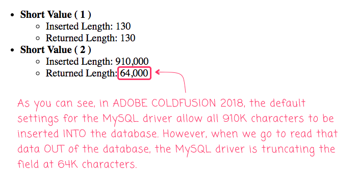 The default MySQL driver is truncating long-varchar fields at 64,000 characters in Adobe ColdFusion 2018.