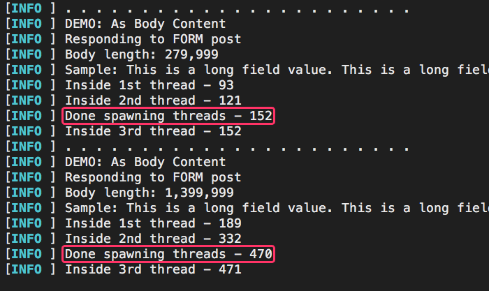 Server logs that demonstrate relatively low cost of CFThread spawning as HTTP body size increases in Lucee CFML 5.3.3.62.