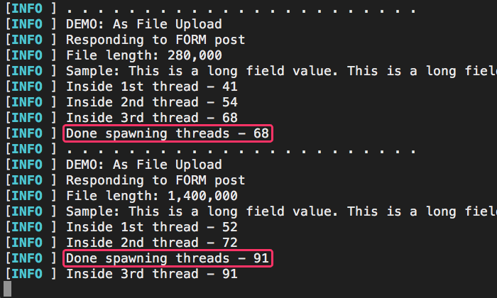 Server logs that demonstrate relatively low cost of CFThread spawning as uploaded file size increases in Lucee CFML 5.3.3.62.