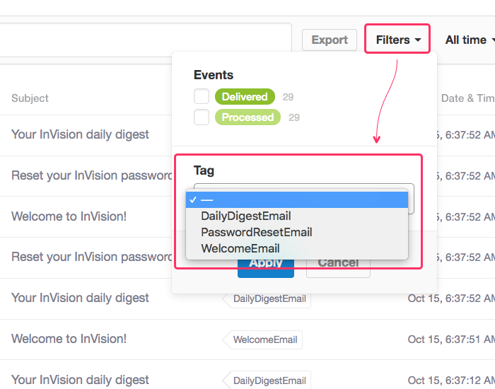 The Postmark activity stream filter UI allows filtering by multiple tags.