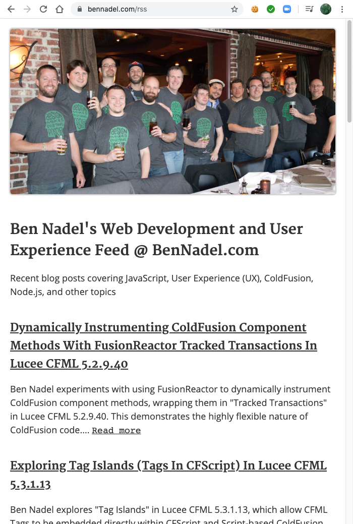 Ben Nadel's RSS feed rendered as an XHTML page using XSLT.