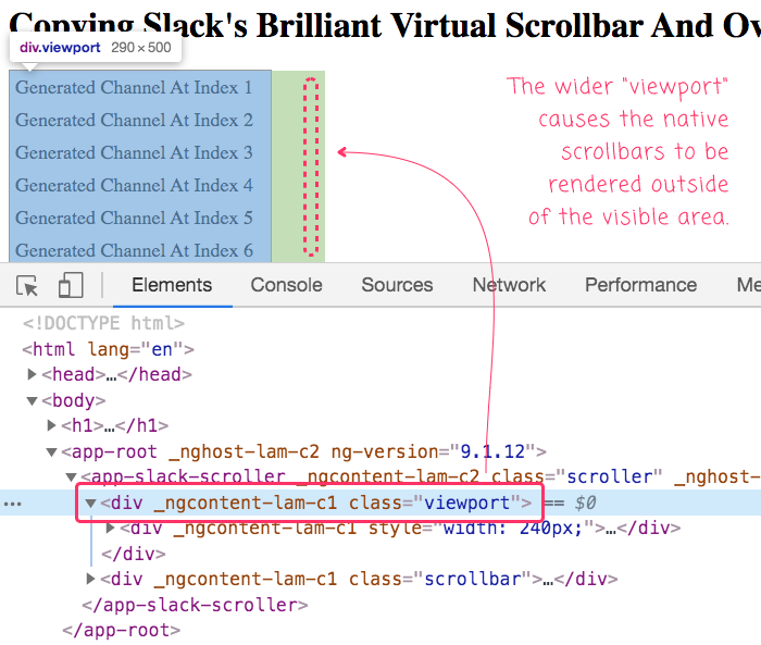 Slack's virtual scrollbar uses a wider viewport that causes the native scrollbar to be hidden.