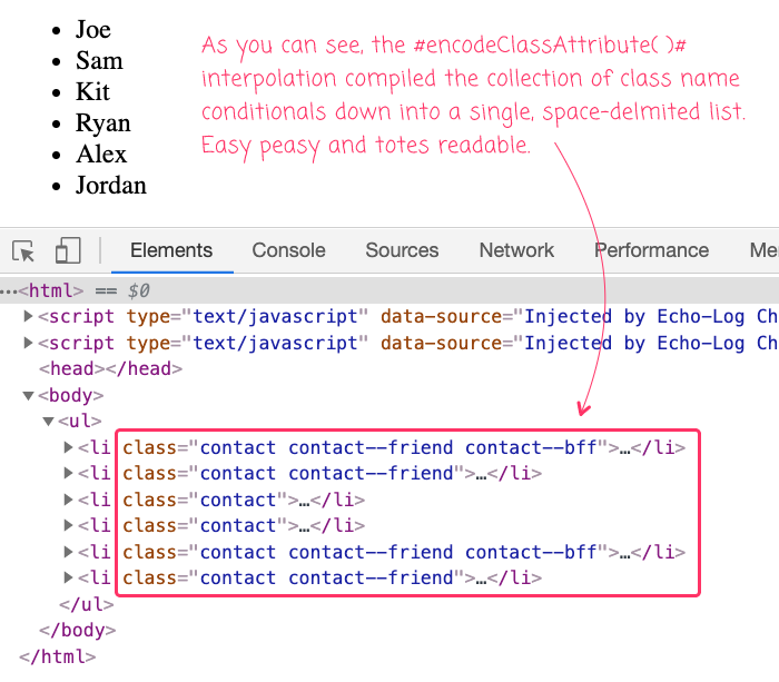 HTML with conditional CSS class names rendered in Lucee CFML.