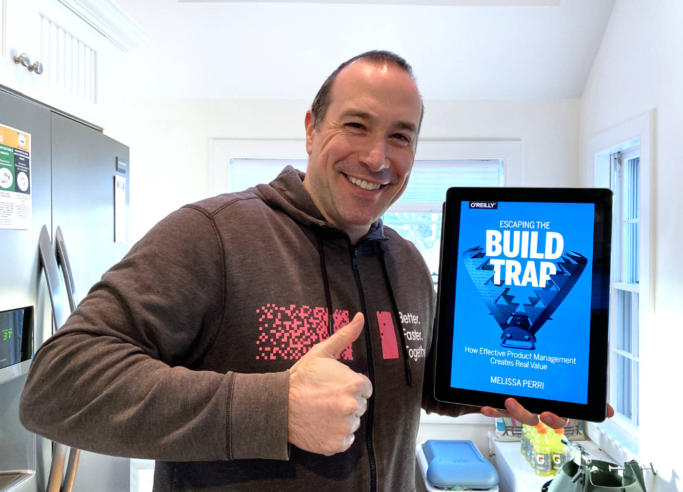 Ben Nadel giving the thumbs-up to Escaping the Build Trap by Melissa Perri.