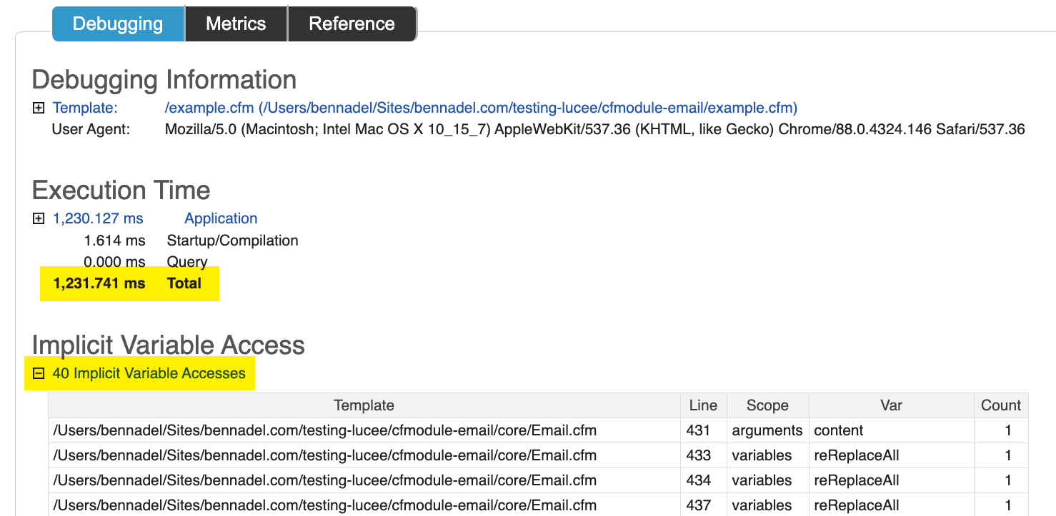 ColdFusion debugging template showing high processing time and implicit variable access.