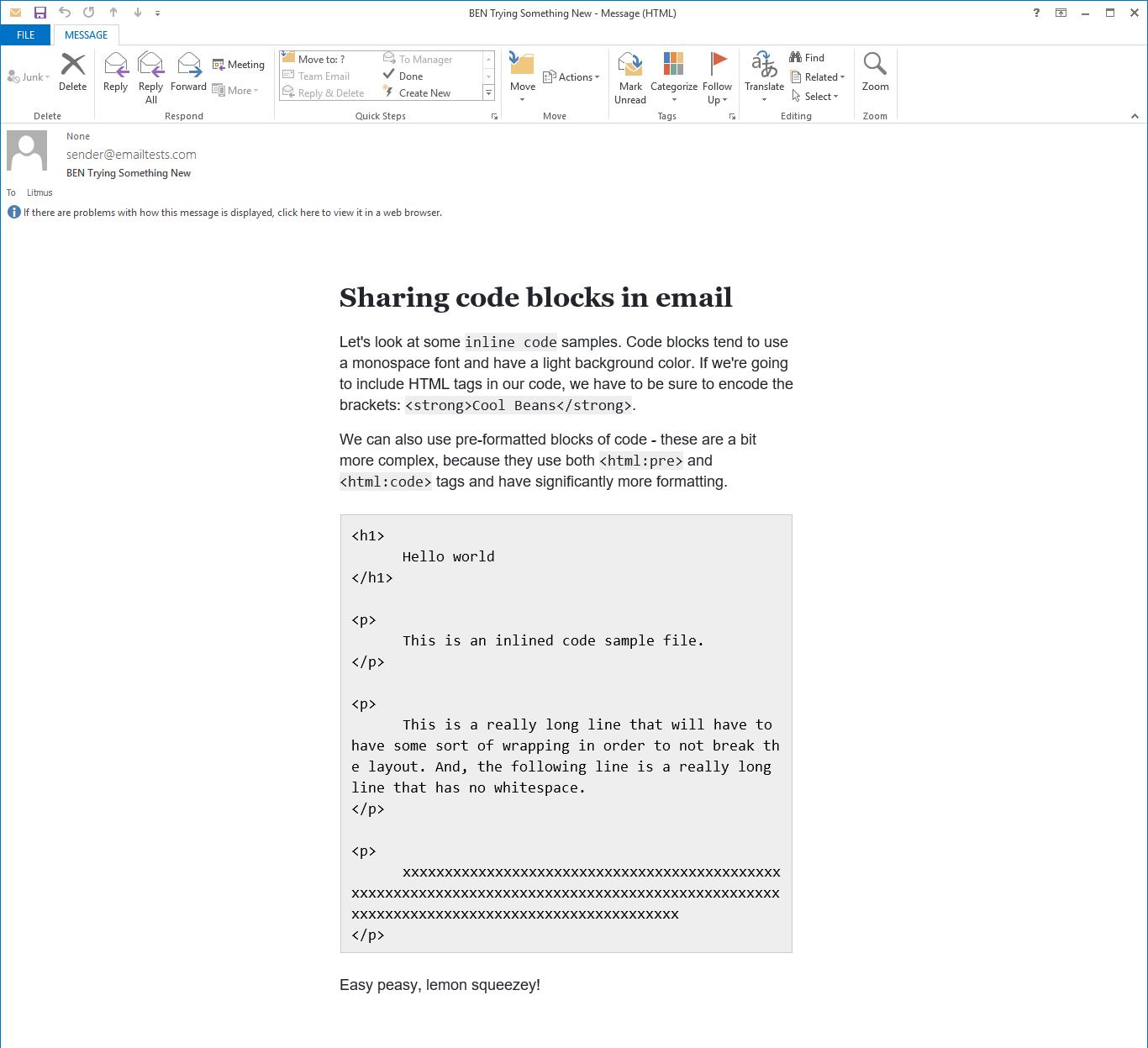 Email rendering in Outlook 2013 on Windows 10.