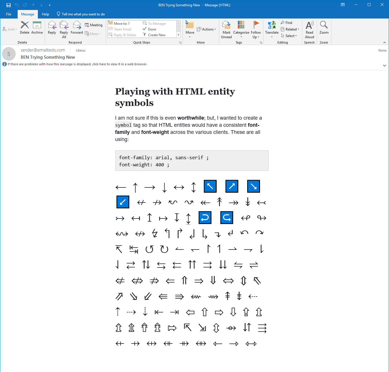 Email rendering in Outlook 2019 on Windows 10.