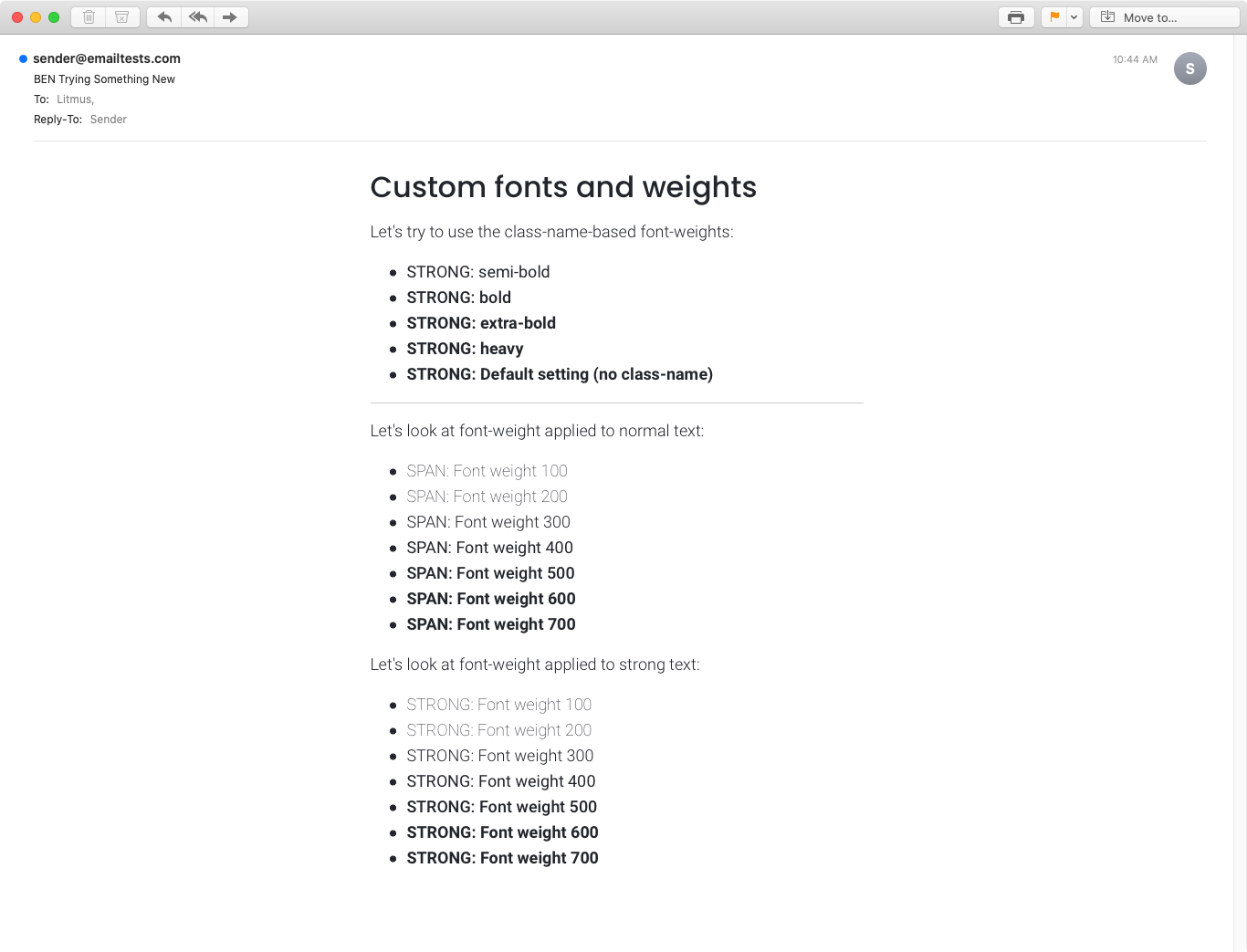Email rendering in Apple Mail 13 on MacOS.