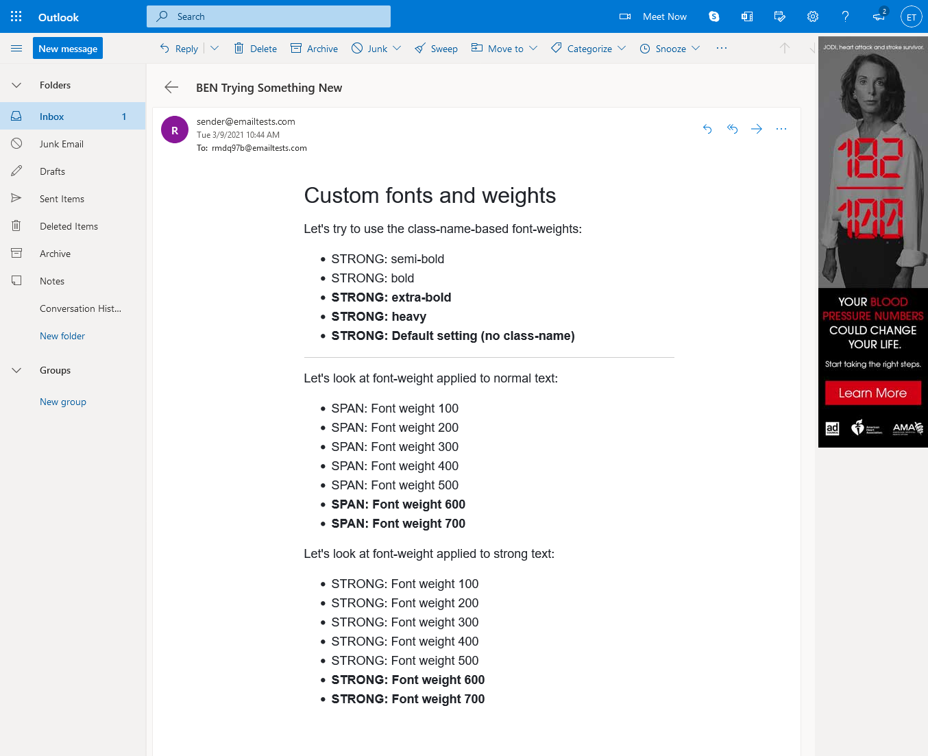 Email rendering in Outlook.com in Firefox.