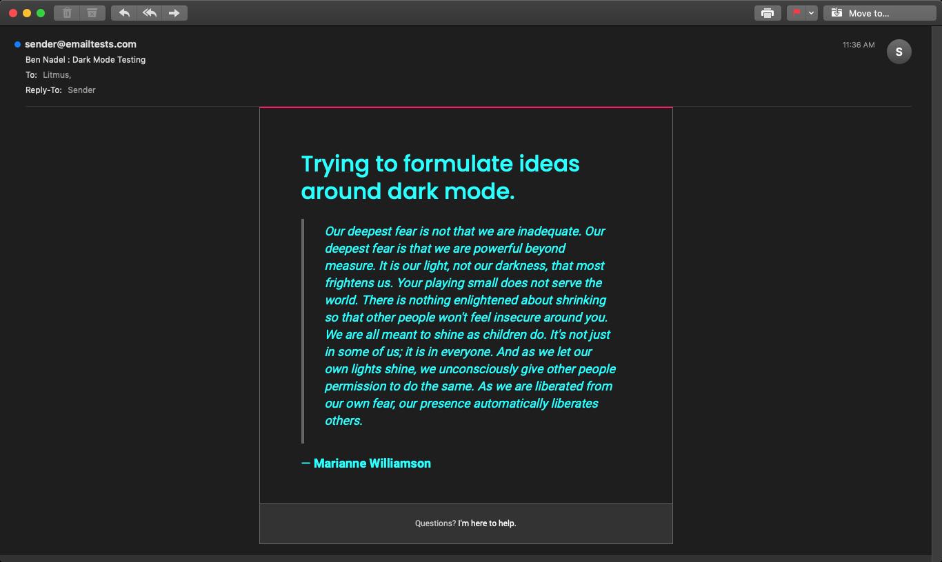 Email rendering in Apple Mail 12 in Dark Mode.