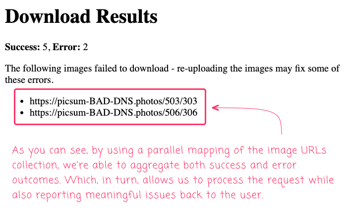 Success and error counts reported after parallel mapping in Lucee CFML.