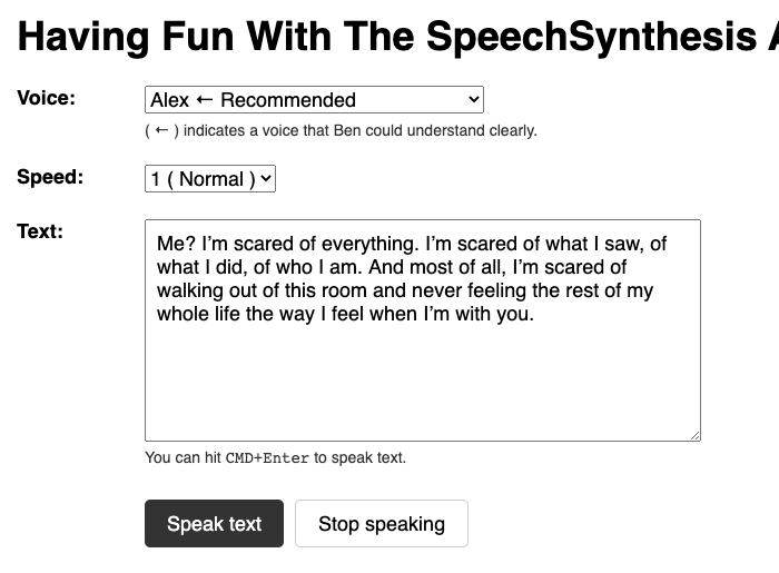 A simple form-based interface for synthesising speech from text in Angular 11.0.5.