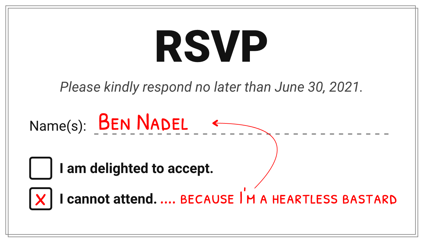 A wedding RSVP with the traditional Yes / No choices.